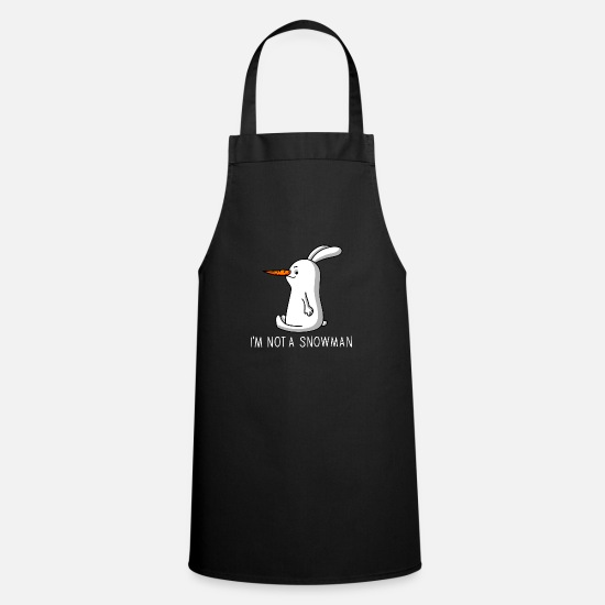 Snowman Aprons - Rabbit with carrot nose - Apron black