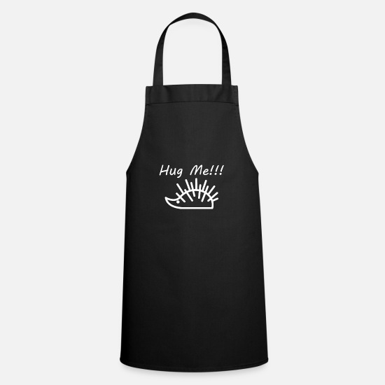 Small Aprons - Funny hedgehog line drawing - Apron black
