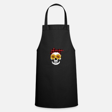 Enthusiasm Skull head sunflower bandana - Apron