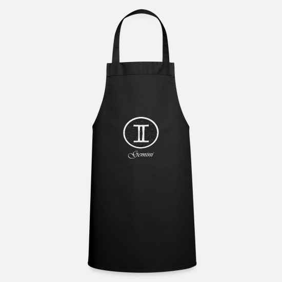 Star Aprons - Gemini zodiac sign, twin with stars HG - Apron black