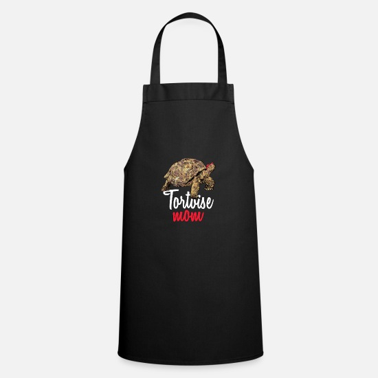 African Spurred Tortoise Aprons - African Spurred Mom Sulcata Tortoise - Apron black