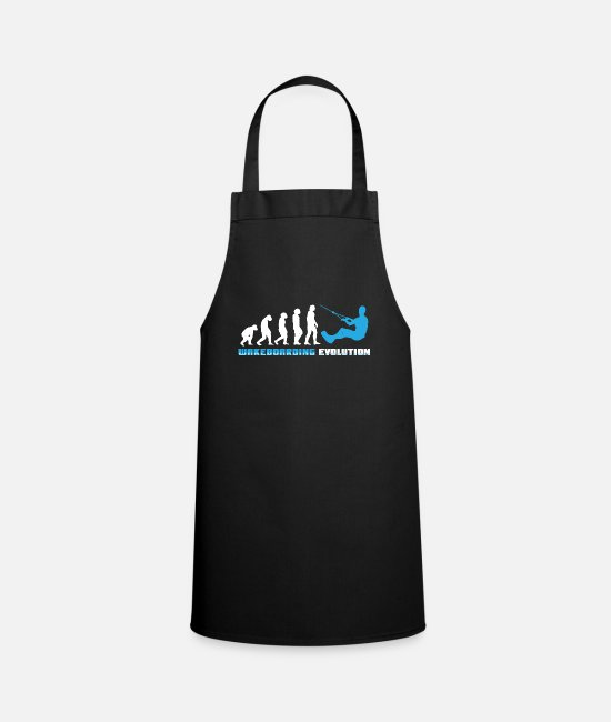 Aquatics Aprons - Funny kite surfing evolution sport gift geek - Apron black