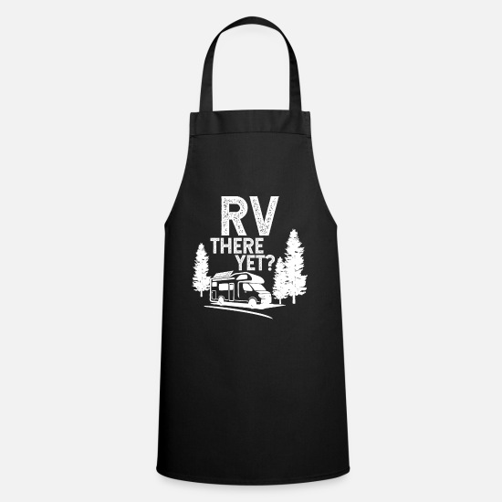 Gift Idea Aprons - Camping tents gift motorhome mountain - Apron black