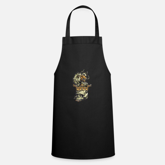 Stylish Aprons - Skull - Lion - Crown - Style - Mane - King - Apron black