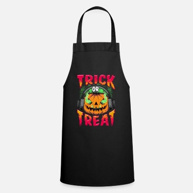 Evil Pumpkin with Trick or Treat headphones - Apron
