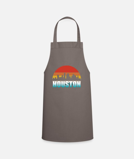 Vintage Aprons - Houston Skyline Silhouette Retro - Apron grey