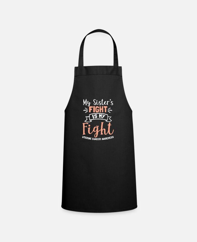 Cancer Survivor Aprons - Uterine Cancer My Sisters Fight is My Gift - Apron black