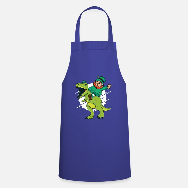Funny Aprons - St Patricks Day Shirt Gift Leprechaun Ireland Dino - Apron royal blue