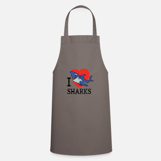 Shark Aprons - I Love Sharks - Apron grey