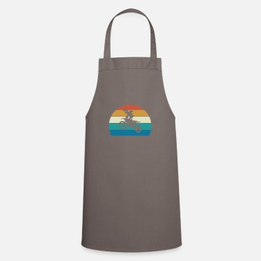 Dirt Bike Rider, Vintage Striped Sunset - Apron