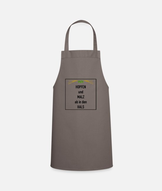 "Barley Aprons - ""Hops and malt - down the throat"" beer gift - Apron grey"