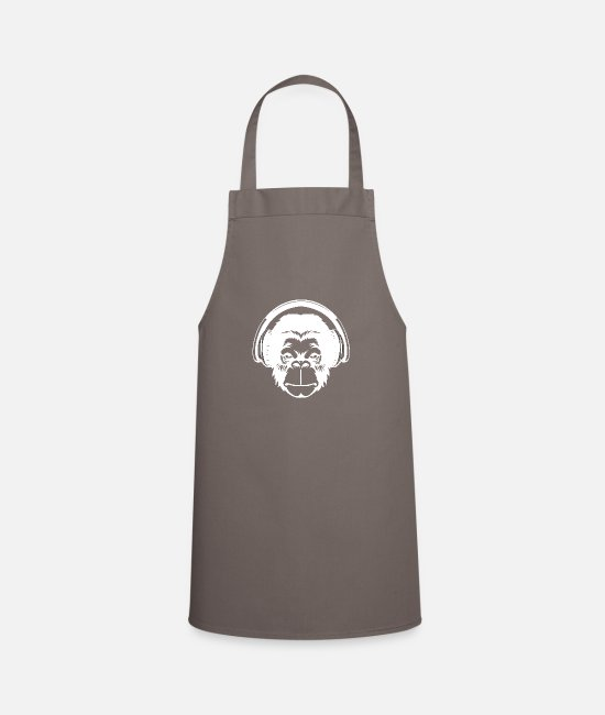 Headphones Aprons - Monkey head with headphones - Apron grey
