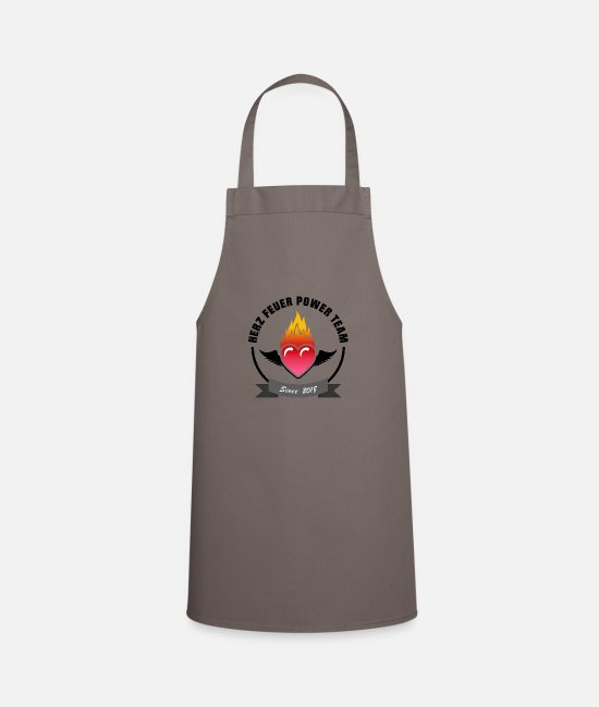 Wing Aprons - Heart fire power team - Apron grey