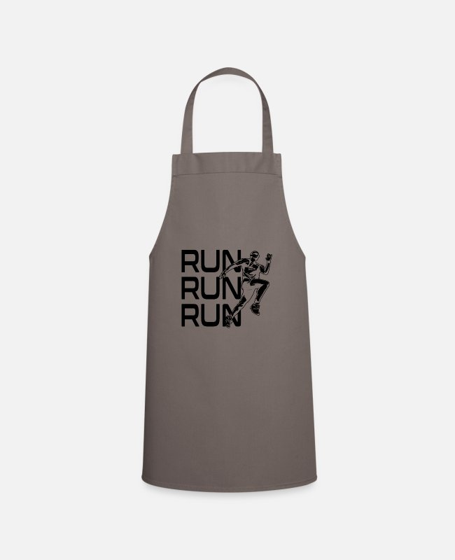 Sprinting Aprons - Run, run, run saying - Apron grey