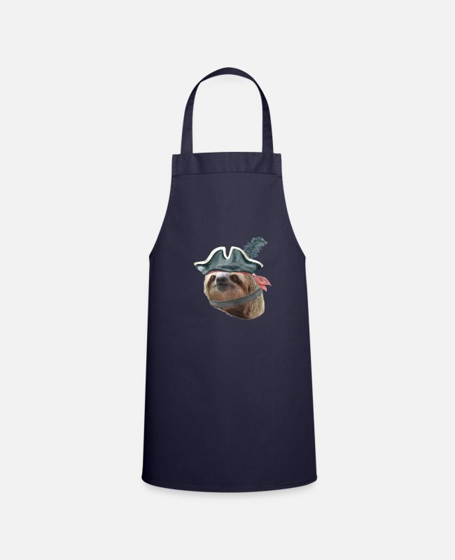 Quote Aprons - Sloth Pirate Hat COLLAR Sloths In Clothes - Apron navy