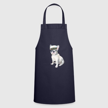 French Frenchie French Bulldog monocle Captains Hat Dogs In Clothes - Cooking Apron