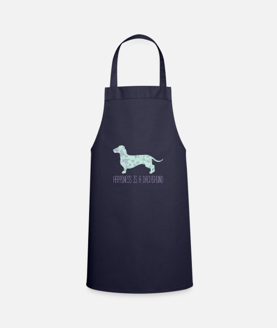 Dachshund Aprons - Happiness Is a Dachshund Floral Wiener Dog - Apron navy