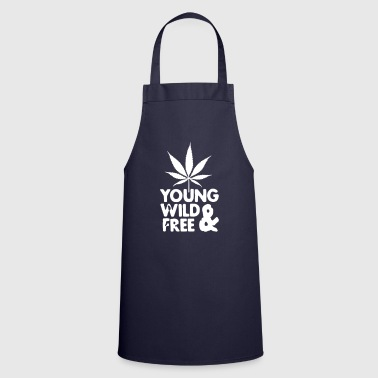 Marihuana young wild and free weed leaf - Delantal de cocina