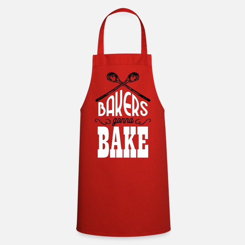 Retirement Aprons - Bakers gonna bake - Apron red
