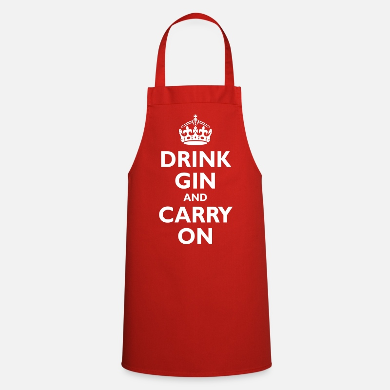 Booze Aprons - drink_gin_and_carry_on - Apron red