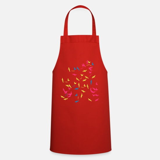 Colour Aprons - Flock of birds in color - Apron red