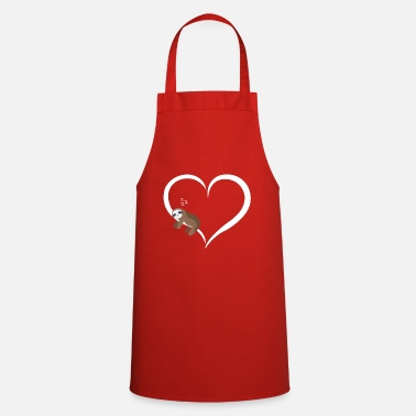 Sloth sleeps white heart valentine gift - Apron