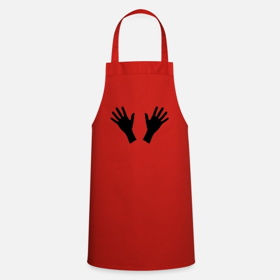 Touch Aprons - hands, handprint - Apron red