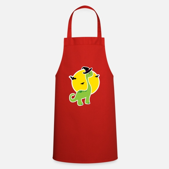 Tea Aprons - Kids Halloween Dino T-Shirt - Gift idea - Apron red