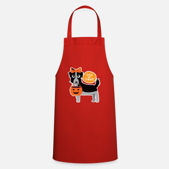 Gift Idea Aprons - Cute Halloween shirt with dog - gift idea - Apron red