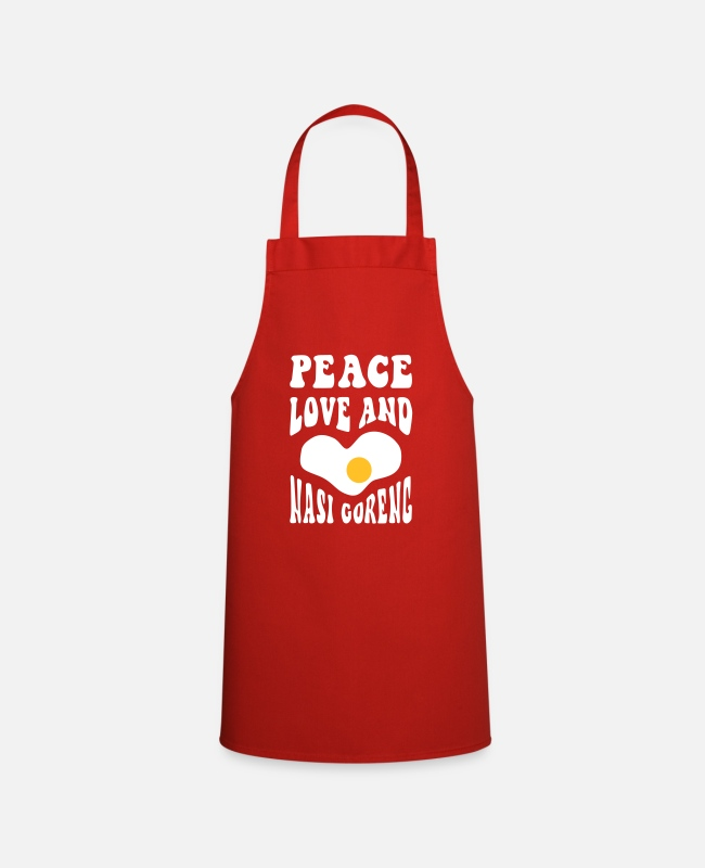 Indo Kookschorten - Peace Love and Nasi Goreng - Schort rood