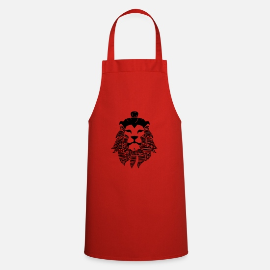 Beard Aprons - My Mane is on My Cheeks - Lion Man - Lionman - Apron red