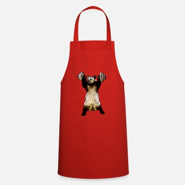 Panda with dumbbell - strong as a bear - Apron