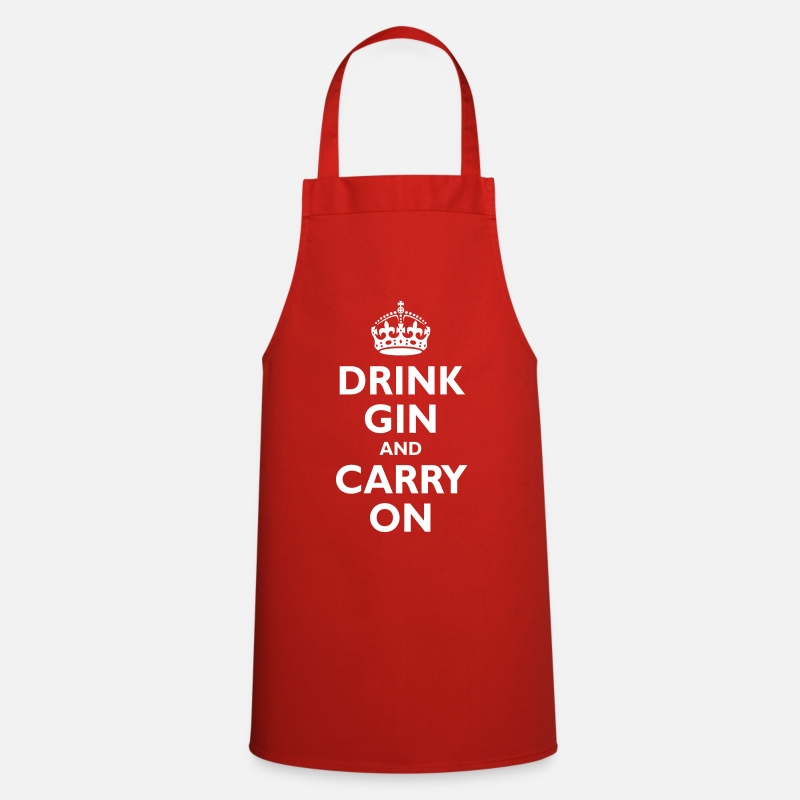 Booze Aprons - Drink gin and carry on - Apron red