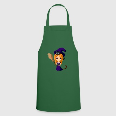 Wicca Wicca witch with cat Halloween - Cooking Apron
