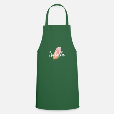 Isabella Girl Name with Feather in Water Colors - Apron