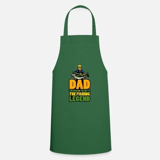 Dad Kookschorten - Mens Dad The Man The Myth The Fishing Legend Gift - Schort groen