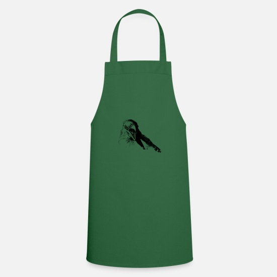 Raven Aprons - Animal Collection - Birds - Hand painted birds - Apron green