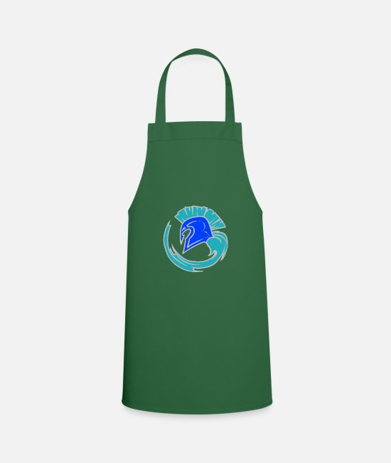 Blue White Aprons - Cool Blue Spartahelm - Leibl Designs - Apron green