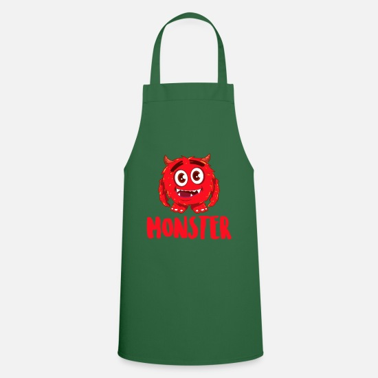 Birthday Aprons - Monster Beast - Kids Scary - Gift - Apron green