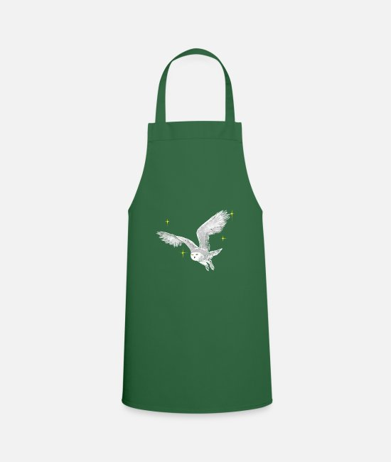 Love Aprons - Hand drawn snowy owl with stars - Apron green