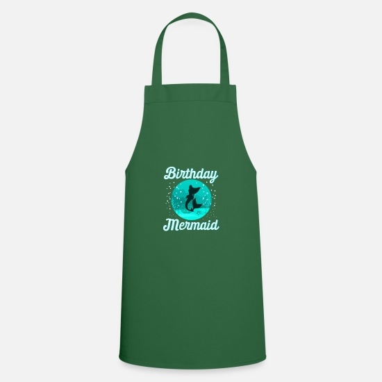Birthday Aprons - Birthday Mermaid Birthday Mermaid Mermaid - Apron green