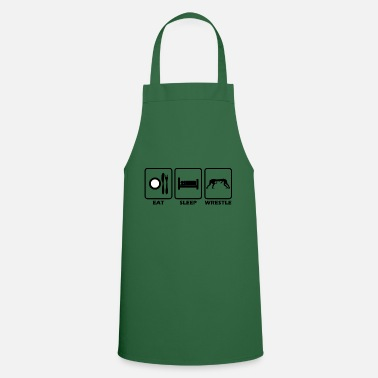 Vector Eating Sleeping Wrestling Wrestler Gift Idea - Cooking Apron