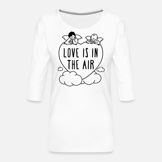Lieben Langarmshirts - Valentinstag - love is in the air 1c - Frauen Premium 3/4-Arm Shirt Weiß
