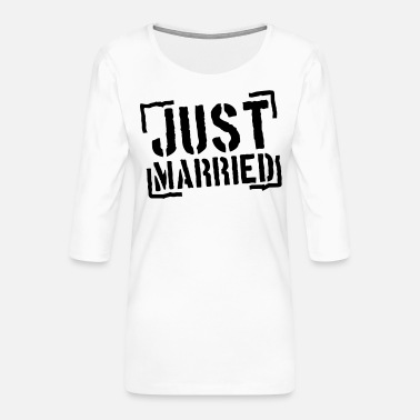 Married Just Married Stamp Design - T-shirt Premium manches 3/4 Femme
