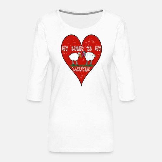 Love Long Sleeve Shirts - Valentines Day Sheep - My Sheep is my Valentine - Women's Premium 3/4-Sleeve T-Shirt white
