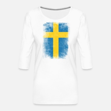 Amazone Schweden-Flagge Proud Swedish Vintage Distressed Hemd - Frauen Premium 3/4-Arm Shirt