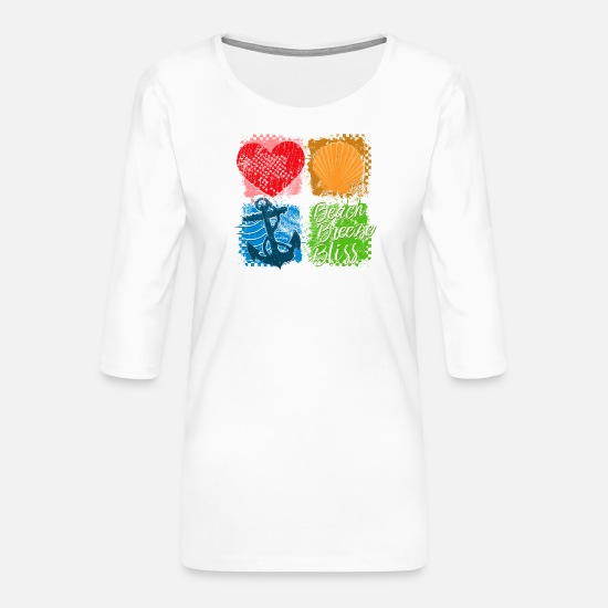 Symbol  Long sleeve shirts - Squares (Beach, Breeze, Bliss) - Women's Premium 3/4-Sleeve T-Shirt white