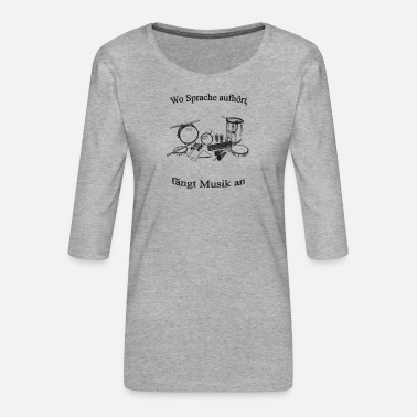 Percussion Percussion sw with text - Women's Premium 3/4-Sleeve T-Shirt