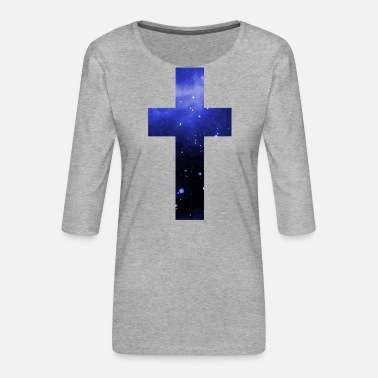Galaxy Cross Galaxy Starry Faith Jesus - Premium-T-shirt med 3/4-ärm dam