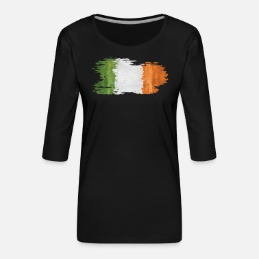 Torn Ireland - national flag, frayed, old - Women's Premium 3/4-Sleeve T-Shirt